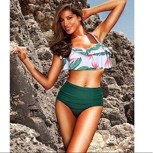 Flounce High Waisted Bikini Halter 2Piece Swimsuit